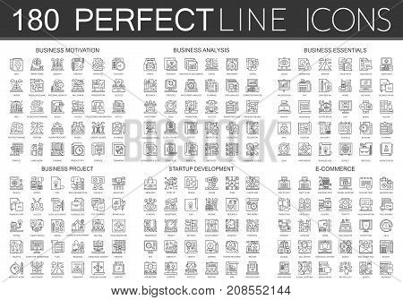 180 outline mini concept icons symbols of business motivation, business analysis, business essentials, business project, startup development, e commerce icon isolated.