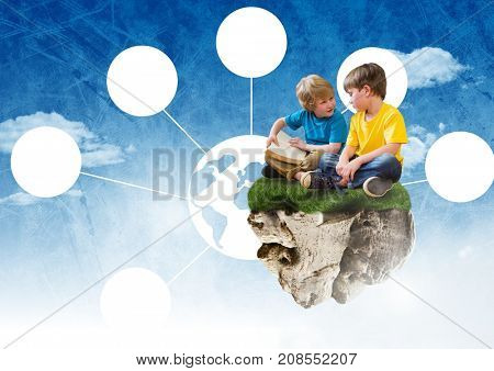 Digital composite of Young boys on floating rock platform  in sky reading books with world connectors interface