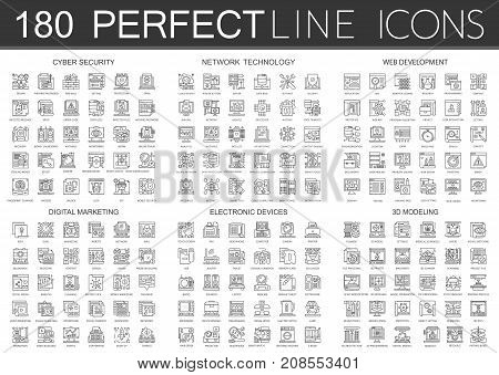 180 outline mini concept infographic symbol icons of cyber security, network technology, web development, digital marketing, electronic devices, 3d modeling isolated.