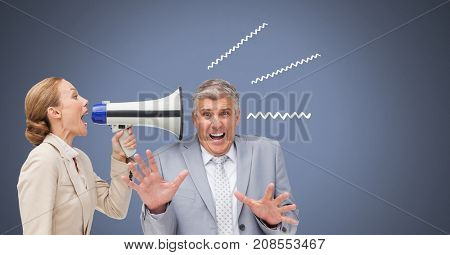 Digital composite of woman using megaphone at man with illustrations
