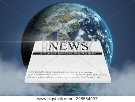 Digital composite of Newspaper in front of planet earth world