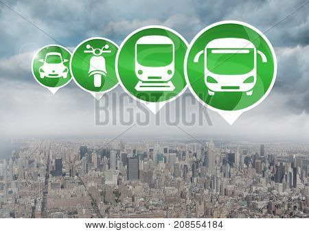 Digital composite of Transport Icons in city