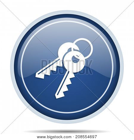 Keys blue round web icon. Circle isolated internet button for webdesign and smartphone applications.
