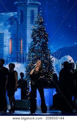 NASHVILLE, TN-NOV 7: Recording artist Sara Evans performs at the 2014 CMA Country Christmas at the Bridgestone Arena on November 7, 2014 in Nashville, Tennessee.