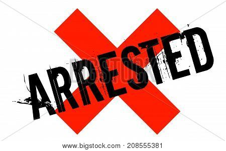 ARRESTED sticker. Authentic design graphic stamp. Original series