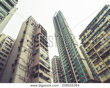 low angle view of residential blocks in Hong Kong,China,East Asia.