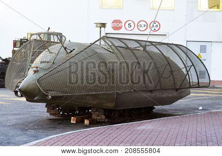 Mobile mortuary for Civil War. Model Shush-Panzer.Industrial degradation of Ukraine.Kiev,Ukraine.October 10, 2017