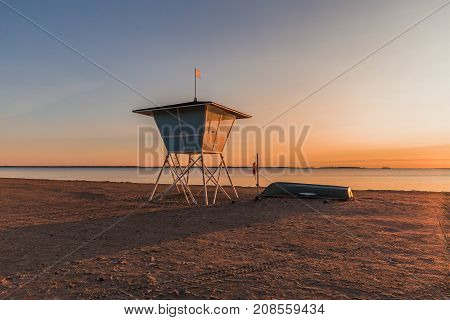 Sunset at the beach in Oulu Finland