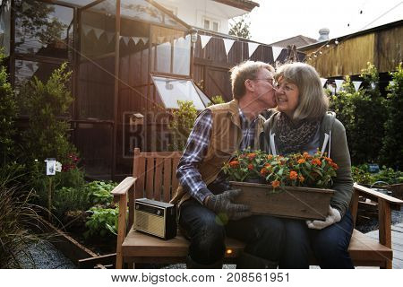 Senior farmer couple kiss romance love