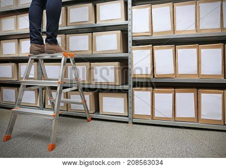 Woman standing on ladder in archive