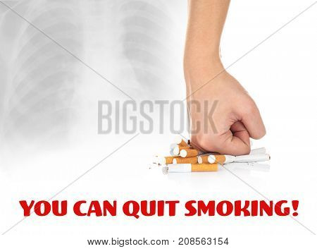 Text YOU CAN QUIT SMOKING and woman crushing cigarettes on light background