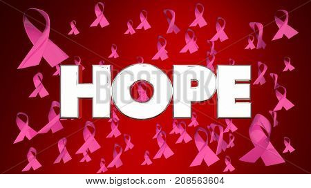 Hope Breast Cancer Ribbons Faith Belief FInd Cure 3d Illustration