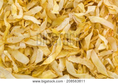 Closeup texture of dried sliced Solomon's Seal Rhizome, Polygonatum Root used in traditional Chinese medicine
