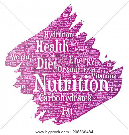 Conceptual nutrition health diet paint brush word cloud isolated background. Collage of carbohydrates, vitamins, fat, weight, energy, antioxidants beauty mineral, protein medicine concept