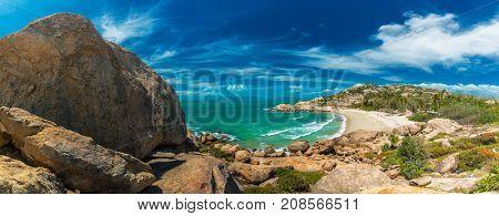 Panoramic view of Horseshoe Bay at Bowen - iconic beach with granite climbing rocks, north Queensland, Australia