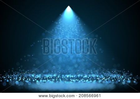Bright blue color spotlight with falling glowing particles holyday background. Raster design template.