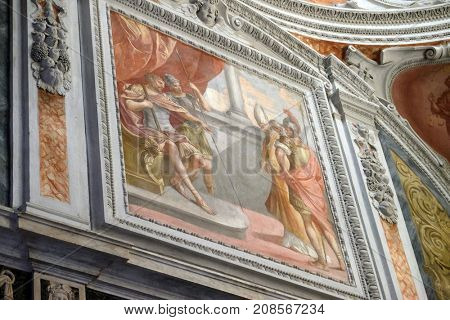 LUCCA, ITALY - JUNE 03: Fresco painting in Basilica of Saint Frediano, Lucca, Tuscany, Italy on June 03, 2017.