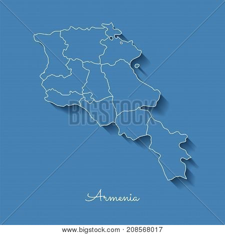 Armenia Region Map: Blue With White Outline And Shadow On Blue Background. Detailed Map Of Armenia R