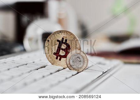Bitcoin Coin On The Keyboard