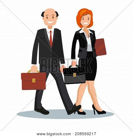 Background vector business cooperation of two business partners vector illustration of a flat design