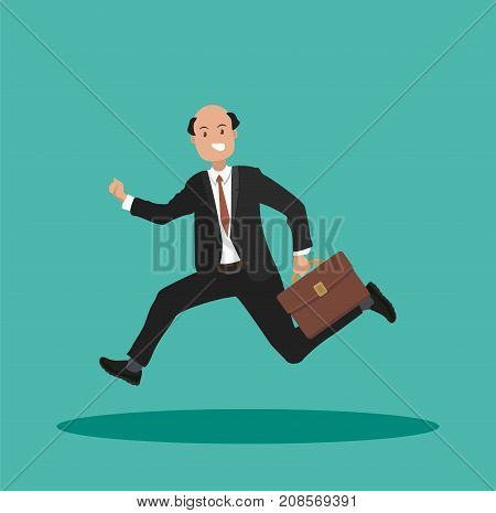 Businessman in a hurry with a briefcase in his hand. The office worker is late for work. Vector illustration in a flat style.