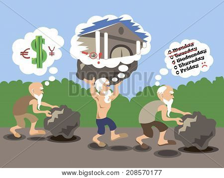 Old man carrying heavy rocks. Burden of debt. Home loan, mortgage, overworked, unfair workload, difficulty, tired concept illustration vector.