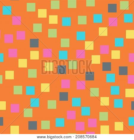 Abstract Squares Pattern. Orange Geometric Background. Pleasant Random Squares. Geometric Chaotic De