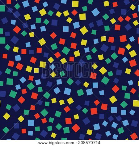 Abstract Squares Pattern. Deep Blue Geometric Background. Outstanding Random Squares. Geometric Chao