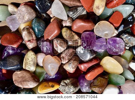 mineral stone mix close up. Colourful mixed up mineral stones,  little stones