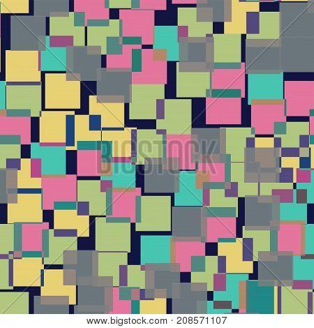 Abstract Squares Pattern. Deep Blue Geometric Background. Beauteous Random Squares. Geometric Chaoti