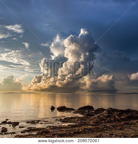 Beautiful Cloud Above The Ocean At Borneo, Sabah, Malaysia.