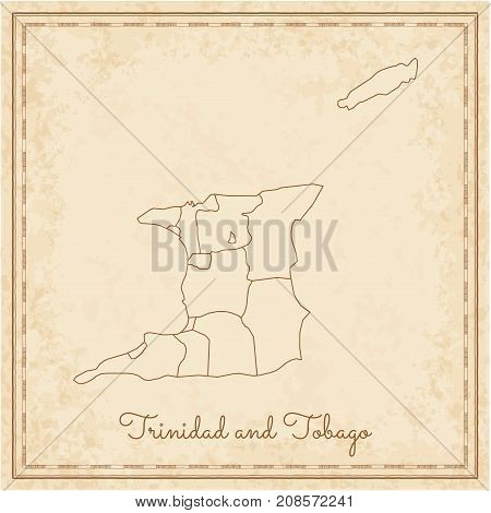 Trinidad And Tobago Region Map: Stilyzed Old Pirate Parchment Imitation. Detailed Map Of Trinidad An