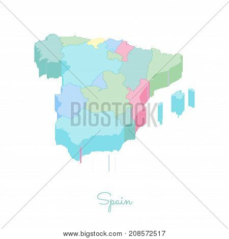 Spain Region Map: Colorful Isometric Top View. Detailed Map Of Spain Regions. Vector Illustration.