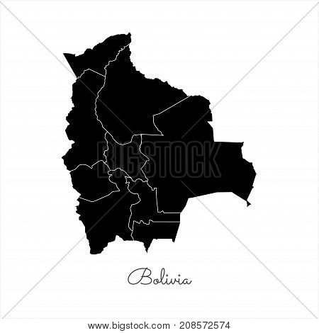 Bolivia Region Map: Black Outline On White Background. Detailed Map Of Bolivia Regions. Vector Illus