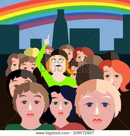 Happy young woman looking at a rainbow in group of bored and unhappy group of people. Happiness, upliftment, soulful concept illustration vector.