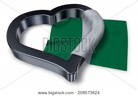 flag of nigeria and heart symbol - 3d rendering