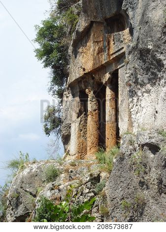 Ancient Lycian tomb near the city of Fethiye. Turkey