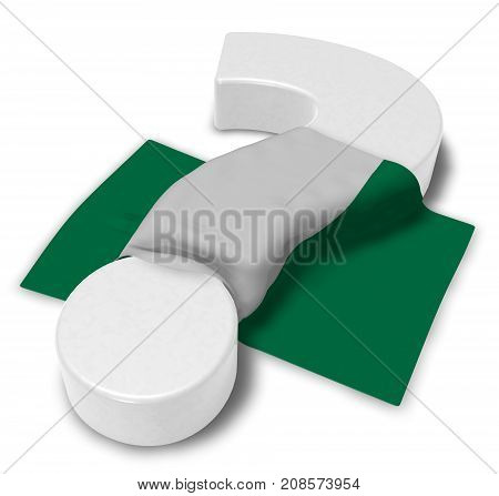 question mark and flag of nigeria - 3d illustration