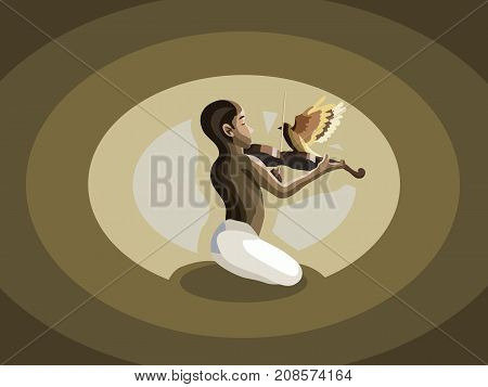 Young man playing violin meditating with music in peace. Music, dream, passion, meditation, peace, mindfulness concept illustration vector.