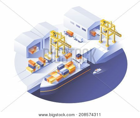 Delivery service concept. Container cargo ship loading truck loader warehouse. Flat style vector illustration.