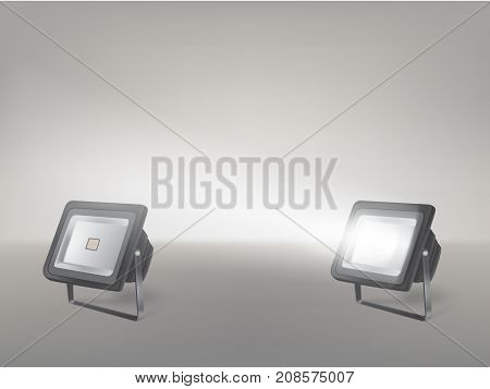 Theater, cinema, studio beaming spotlights on a stand realistic vector illustration. Turned on and off cine lighting units, lightning equipment for performance or premiere stage illumination