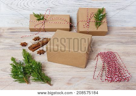 Gift wrapping. packs gifts step by step top view.