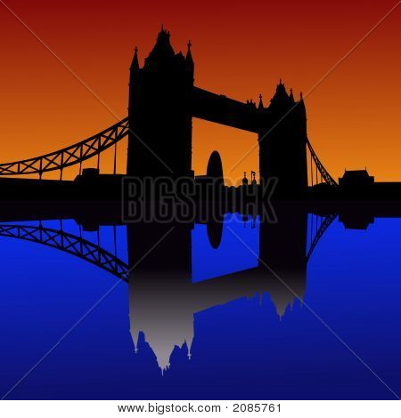Tower Bridge London reflected in River Thames at sunset poster