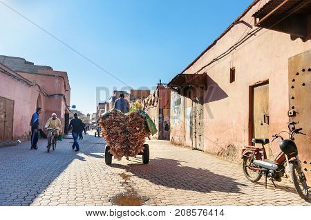 Cart With Leather On The Street In Medina. Marrakesh. Morocco