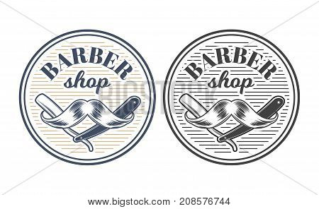 Color and monochrome straight razor with mans mustache inside round badge engraved vector isolated on white background. Hairdressing tool, equipment illustration for barber shop emblem in retro style