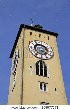 Clock Tower Of The Old Town Hall In Regensburg