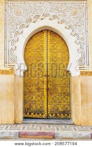Traditional Moroccan entry door in Fes. Morocco