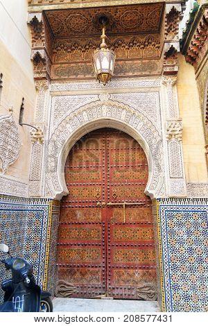 Traditional Entry Door To Kairaouin Mosque. Fes. Morocco