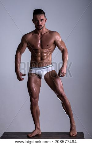 White Man Sportsman. Man In Full Growth. Attractive Guy With Healthy Sports Sexy Body. Athlete, Bear