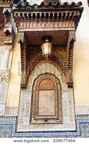 Traditional Moroccan window Kairaouin Mosque in Medina Fes El Bali. Fes. Morocco poster